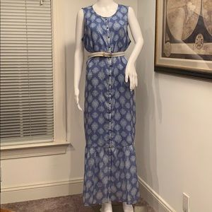 LUCKY BRAND NWT DRESS BLUE & WHITE MAXI LARGE